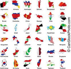 vlaggen, aziaat, kaart, details, vorm