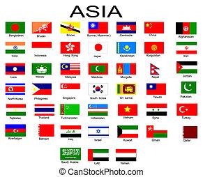 vlaggen, aziaat, lijst, landen, alles