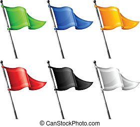 vlaggen, set, driehoek