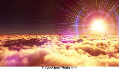 vlieg, boven, wolken