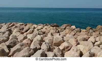 vlieg over, rotsen, oceaan