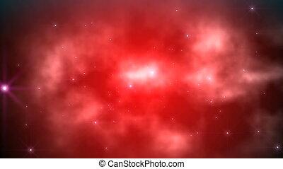 vlieg, wolken, rood, ruimte