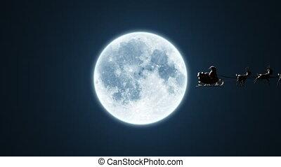 vliegen, animatie, maan, versie, claus, kerstman, chroma, 4k, rendier, mooi, 3d, klee, included., arreslee, achtergrond