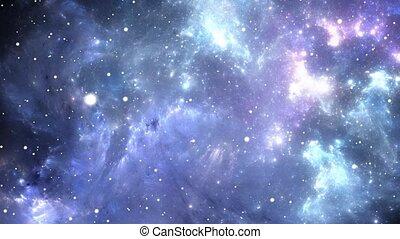 vliegen, door, nebula