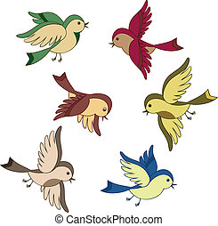 vliegen, set, spotprent, vogel