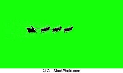 vliegen, silhouette, reindeer., scherm, claus, groene, kerstman, kerstmis