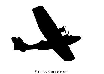 vliegen, silhouette, scheepje