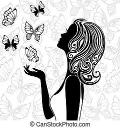 vliegen, vlinder, vrouw, silhouette, jonge
