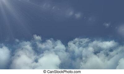 vliegen, wolken, fototoestel, video, door, lus, beweging