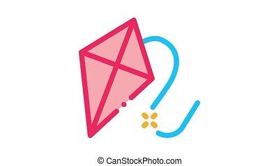 vliegende kite, animatie, pictogram