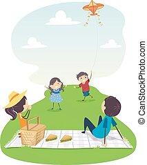 vlieger, gezin, illustratie, picknick, stickman, vliegen