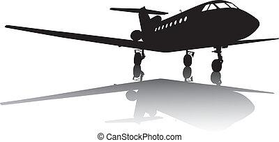 vliegtuig, silhouette