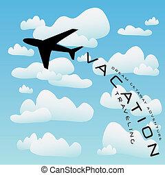 vliegtuig, vector, vakantie reis