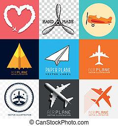 vliegtuig, vector, verzameling