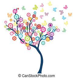 vlinder, bloemen, boompje