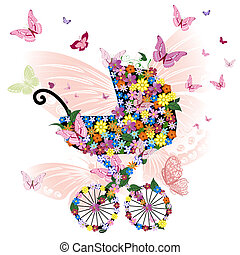 vlinder, bloemen, wandelaar