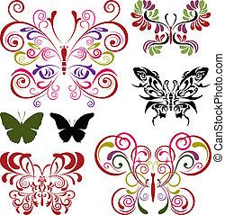 vlinder, communie, set