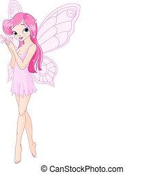 vlinder, elfje, roze, schattig