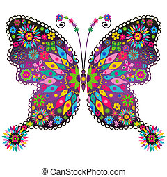 vlinder, fantasie, levendig, ouderwetse