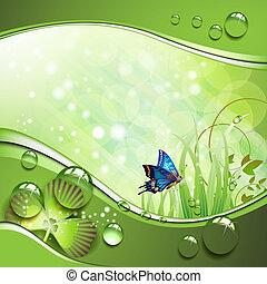 vlinder, gras, klavertje