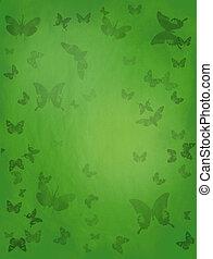 vlinder, groene achtergrond