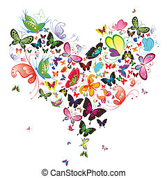 vlinder, illustration., hart, valentijn, ontwerpen basis
