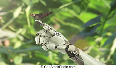 vlinder, robot, hand