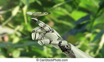 vlinder, robot's, kool, landen, hand