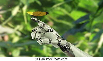 vlinder, robot's, landen, gele, hand
