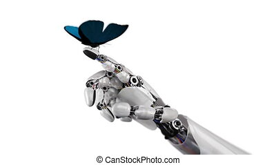 vlinder, robot's, landen, hand