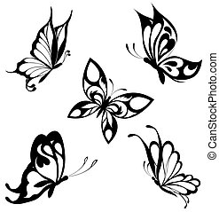 vlinder, set, black , witte , ta
