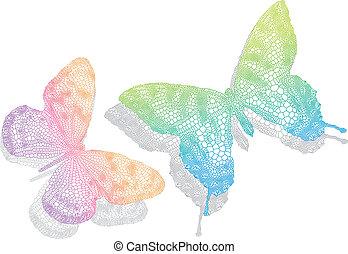 vlinder, vector, schaduw
