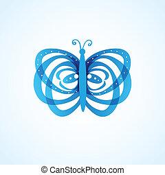 vlinder, witte , vrijstaand, achtergrond
