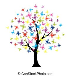 vlinder, zomer, boompje