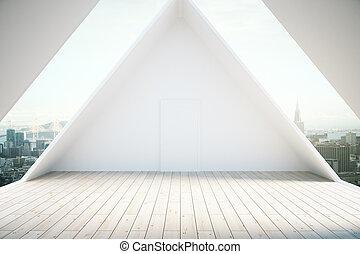 vloer, houten, interieur, zolder, licht
