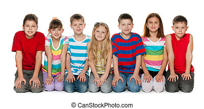vloer, kinderen, zittende