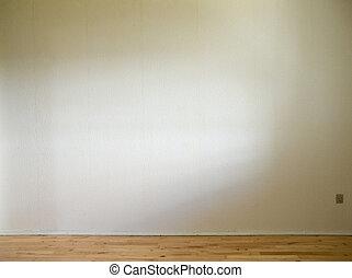 vloer, muur, houten, daglicht, witte , bovenkant