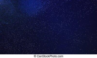 vlotter, achtergrond., dust., vliegen, langzaam, kleine, witte , motion., chaotically, rokerig, weightless, vertragen, partikels, afsluiten, boven., tegen, lucht, black