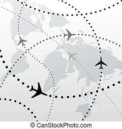 vlucht, plannen, reizen, aansluitingen, wereld, vliegtuig
