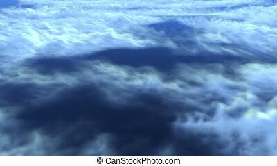vlucht, wolken, op