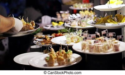 voedingsmiddelen, feestje, cocktail, catering