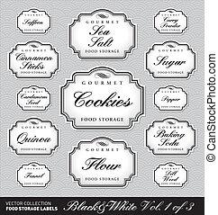 voedingsmiddelen, opslag, etiketten, vol1, (vector)