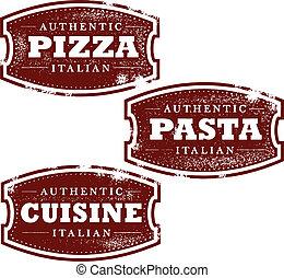 voedingsmiddelen, ouderwetse , postzegels, italiaanse