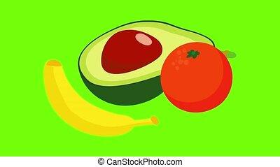 voedingsmiddelen, pictogram, animatie, exotische