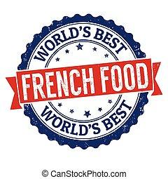 voedingsmiddelen, rubber, grunge, franse , postzegel