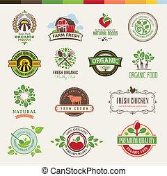 voedingsmiddelen, set, organisch, kentekens