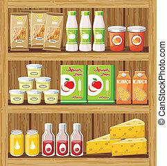 voedingsmiddelen, shelfs, supermarket.