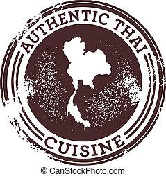 voedsel stempel, thai, authentiek, classieke