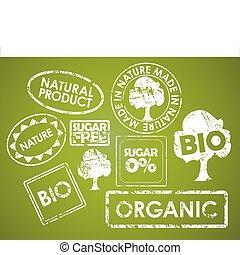 voedsel stempelt, set, organisch