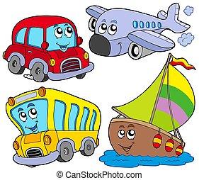 voertuigen, gevarieerd, spotprent